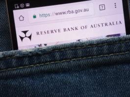 Reserve bank of australia (RBA) website on a smartphone